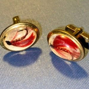 Vintage cufflinks Anson fishing lure 1960s